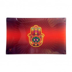 V Syndicate glass rolling tray by V Syndicate with Hamsa design. Available in our online wholesale catalogue