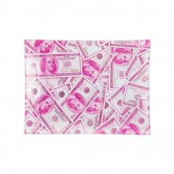 v syndicate glass tray with pink dollars design.