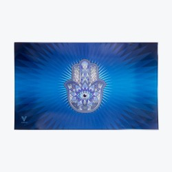 Blue hamsa glass rolling tray for rolling joints.