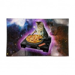 DJ cat glass rolling tray for smokers. Available for wholesale online