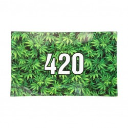 Glass rolling tray for smokers. Green 420 design.